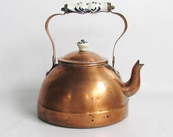 Vintage Copper and Porcelain Teapot - Tea Kettle with Beautiful Patina, French Country, English Cottage Style