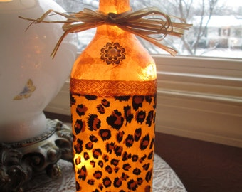 leopard,leopard print,animal print decor,wine bottle lamp,wine bottle light,lighted bottles,lighted wine bottles,lepard,leopard light