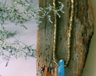 GOLDEN  BLEU beaded neckpiece