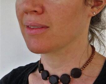 Wood Bead Necklace Wood Choker, Wooden Bead Necklace, Wooden Necklace, Wooden Jewelry, Wood Jewelry, Wooden Choker