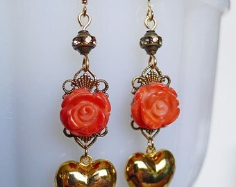 Champagne and Roses // Carved Coral Rose and Gold Heart Drop Earrings with Swarovski Crystals, Shabby Chic Rustic Bohemian Retro Bridal Deco