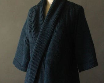 Vintage 90's Dark Blue Knit Open Cardigan Sweater by Berretti, size S