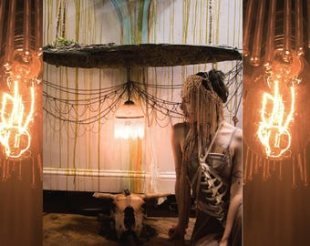 Driftwood self alter and chandelier