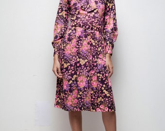 vintage 70s bow dress shirtwaist pleated floral print purple pink knee length Medium M