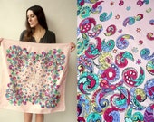 1940's Vintage Rayon Novelty Paisley Printed Square Scarf
