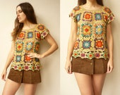 1990's Vintage Crochet Festival Granny Square Knitted Top Size S/M
