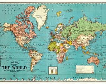 Digital Download Map Etsy - World map download