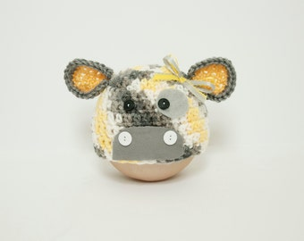 Sunny the Cow Newborn Hat Gender Neutral RTS Yellow Gray Baby Prop Removable Bow