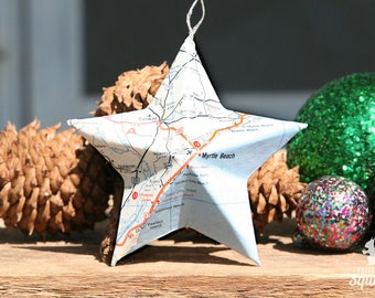 Myrtle Beach, SC - Vintage Map Covered Star Ornament - South Carolina, SC, Home Decor, East Coast, 3 Dimensional, Christmas, Tree