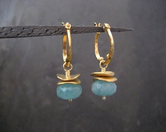 Amazonite hoops,  drop earrings, small hoops, gemstone hoops, faceted amazonite, gold hoops, rondelle earrings, genuine stone, handmade