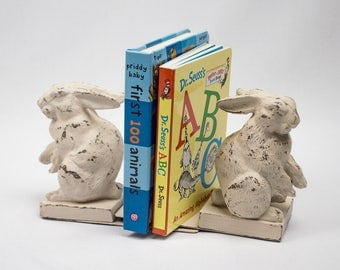 Rabbit Bookends with Two Books Nursery Decor Baby Gift