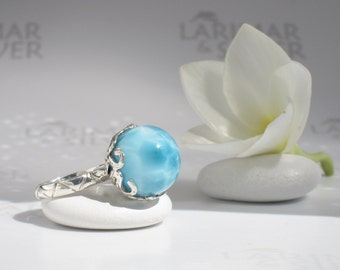 Octopus ring size 7 by Larimarandsilver, Guardian of Treasure 1 - Caribbean turquoise Larimar ball, sea octopus pearl, handmade Larimar ring