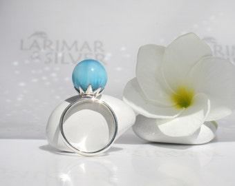 AAA Larimar ball ring size 7 by Larimarandsilver, Mermaid Fiancée 5 - electric blue Larimar ball royal blue pearl ring handmade Larimar ring