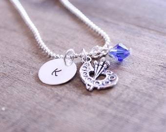 Stamped Initial Charm Necklace with Artist Palette and Crystal: Silver Art Paintbrush