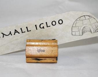 Vintage Igloo and Eskimo Rubber Stamp, Wood Stamp, Vintage Rubber Stamp