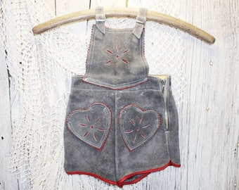 Vintage Children's Lederhosen, Grey and Red Suede Leather Shorts, Children's Gray Lederhosen