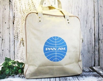 Pan Am Canvas Carry on Bag, Canvas Airline Tote, Vintage Pan Am Bag