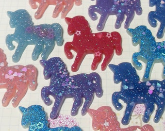 5x 40mm Magic Pastel Unicorn Cabochons in Multicolours with stars