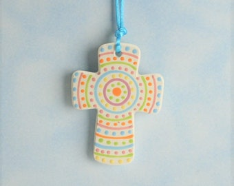 Handmade Ceramic Cross, Easter Pastel Dots, Baby Cross, Confirmation Cross, Christian Ornament, Baptism Cross, Pottery Cross, Favors