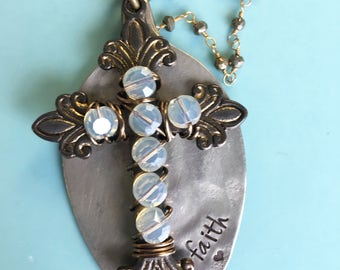 Hand Stamped Faith Vintage Spoon Necklace