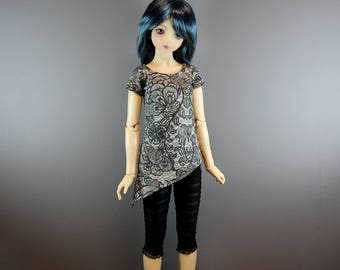 SD / SD13 Black & Grey (Gray) Asymmetric Tunic Top for Girl BJD, Ball Jointed Dolls