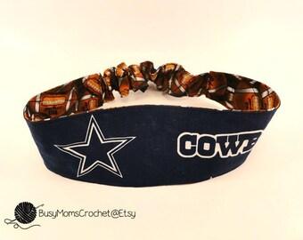 Women's fabric headband made from Dallas Cowboys fabric material, handmade, elastic headband, Cowboys headband