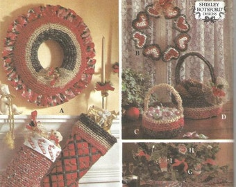 1990s Christmas Holiday Craft Pattern Christmas Crafts Stockings Ornaments Wreaths Baskets Christmas Tree Skirt Uncut FF Simplicity 8770