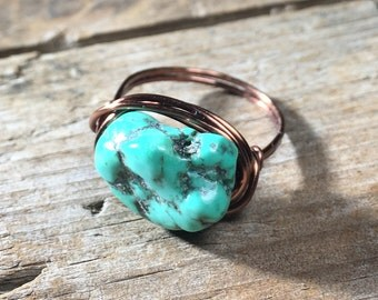 turquoise howlite stone antique copper wire wrapped ring - size 8.25 , 8 1/4 - rustic gemstone / bohemian  hippie / men women unisex jewelry