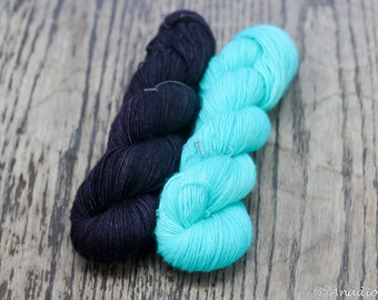Maya Soft Singles - Death by Chocolate and Seafoam- Colour Adventures (fibers: superwash merino)