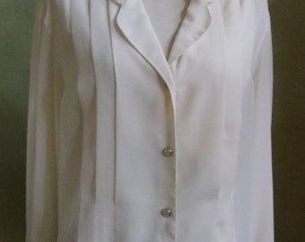 """Vintage Josephine Semi-Sheer Cream Long Sleeved Blouse Front Tucks Faux Pearl Buttons Bust 46"""" Waist 44"""""""