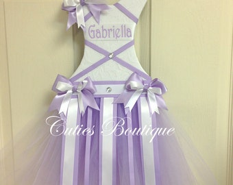 Lavender White Tutu Dress Hair Bow Holder --Personalized--Perfect Gift For Birthday Baby Shower It's a Girl