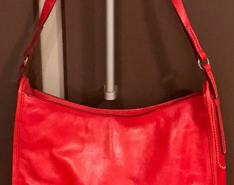 90's Vintage Francesco Biasia Cherry Red Leather Handbag Hobo Style Purse