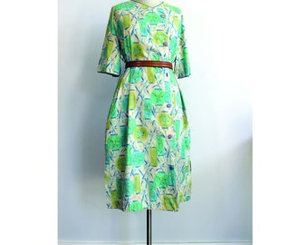 1950s Cotton Day Dress Blue Lanterns Novelty Print
