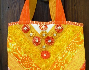 quilted patchwork orange and gold tote