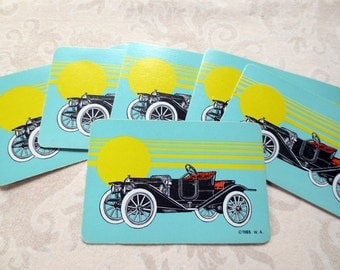 6 Old Car Art Deco Vintage Playing Cards