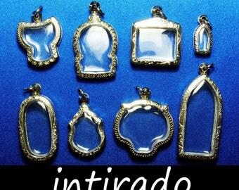 Terrarium Pendant Trays, Antiqued, Engraved, Clear Locket, Shadow Box, Amulet Locket Case, Reliquaries, Art and Craft, Cat, Tiger, 8pcs