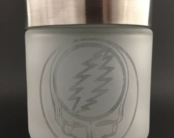 Etched Glass Jar //  XL Stealie Airtight Metal Lid Jar