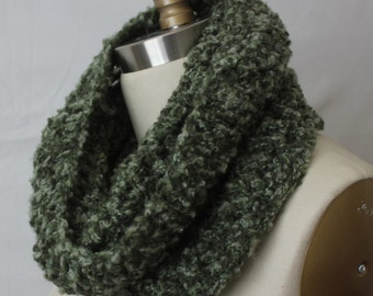 Crocheted infinity scarf in forest green, snood, cowl