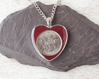 1967 Sixpence Necklace, Burgundy Red Resin Heart Pendant, 50th Birthday Anniversary, Burgundy Red Jewellery, Resin Jewellery, UK, 1202a