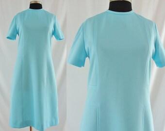 SALE Vintage Seventies Dress - 1960's / 1970's Bright Blue Mod Dress - 60's / 70's Shift Dress - XL Vintage Mod Dress