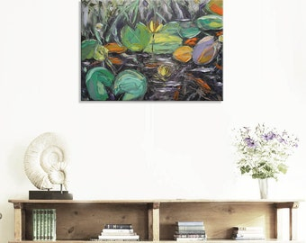 Yellow water lilies - lily Original green impressionism Floral Oil Painting Canvas Palette Knife gallery fine art ready hang impasto water