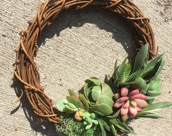 """6"""" Succulent Wreath (Made TO Order)"""