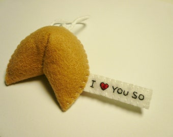 Fortune cookie handmade felt ornament I love you so Christmas tree gift decor