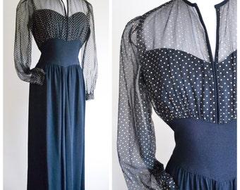 1940s Black crepe & gold spot tulle evening dress / 40s full length formal polka dot dress - S