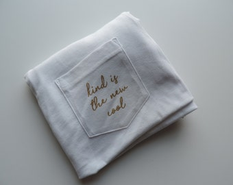 New Kind is the New Cool White & Gold Pocket Tee T-shirt // Size S-2XL
