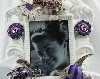Beautiful Jeweled, Purple Rhinestones and Crystals on a Sealife Themed White, Ornate Picture Frame, All Occasion Gift