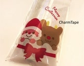 Festive Santa Gift Bags Cello Bags Self-adhesive Cookie bags - Favors Bags - Party bags Set of 20 bags CB10 10x15 cm