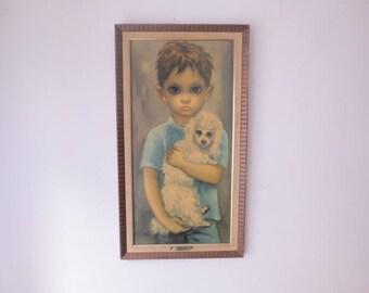 """Vintage '60s Margaret Keane / Walter Keane """"No Dogs Allowed"""" Original Framed Print w/ Gold Plaque, 26.5 x 14.5"""