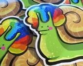 Rainbow Afro Snail Sticker