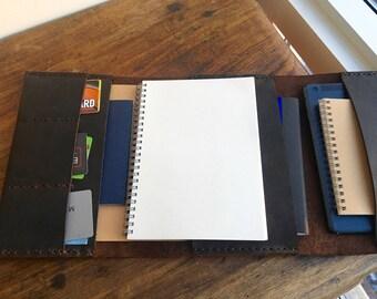 Notebook organizer, iPad mini portfolio, Leather notebook cover a5, 6 pocket folder, Leather book cover, 6 x 8 notebook, a5 notepad